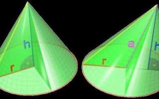 Формула расчета угла конуса
